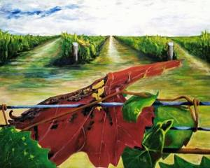 'A Drop of Red' painting of grape vines and a vine leaf by artist Trevor O'Sullivan